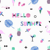 Summer seamless pattern with pink flamingos, ice cream, strawberry Royalty Free Stock Images
