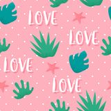 Summer seamless pattern in polka dot with tropical plants and text love on pink background. Ornament for textile and wrapping. Vec vector illustration
