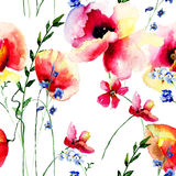 Summer seamless pattern with Red Poppies flowers Stock Photos