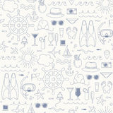 Summer seamless pattern. Sea and beach objects. Royalty Free Stock Photography