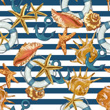Summer Seamless Pattern with Sea Shells, Anchor stock illustration