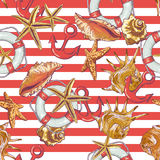 Summer Seamless Pattern with Sea Shells, Anchor. Lifeline on Striped Background Stock Photography