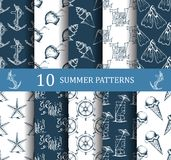 Summer seamless pattern set Royalty Free Stock Photography