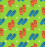 Summer Seamless Pattern with Set of Pair of Flip-flops Royalty Free Stock Photos