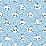 Summer seamless pattern with ship images blue Royalty Free Stock Photos