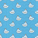 Summer seamless pattern with ship images blue Stock Photo