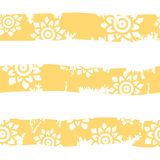 Summer seamless pattern stripes. Ethnic flowers on a yellow back. Ground. Vector illustration Stock Images