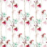Summer seamless pattern with Stylized flowers Stock Photo