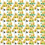 Summer seamless pattern with Stylized flowers. Watercolor illustration Royalty Free Stock Image