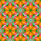 Abstract colored picture. Summer seamless pattern with stylized flowers. For wallpaper, web page. Orange, green and yellow. Raster ornate seamless texture royalty free illustration