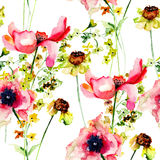 Summer seamless pattern with Stylized flowers Stock Image