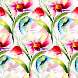 Summer seamless pattern with Stylized flowers Royalty Free Stock Photography