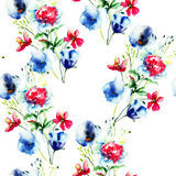 Summer seamless pattern with Stylized flowers Stock Photography