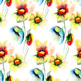 Summer seamless pattern with Stylized flowers Stock Images