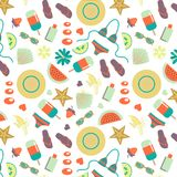 Summer seamless pattern with summer day elements  Royalty Free Stock Image