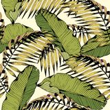 Summer seamless pattern with tropical leaves and branches. Vector decorative background for design. And decoration of textiles, clothing, accessories, wallpaper Royalty Free Stock Photography