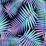 Summer seamless pattern with tropical leaves and holographic effect. Colorful summer print for textile, cards, posters etc. Vector. Tropical illustration royalty free illustration