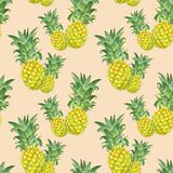 Summer seamless pattern with tropical pineapple fruits. Watercolor tropical hawaiian print. Summer seamless pattern with watercolor isolated fresh ripe royalty free illustration
