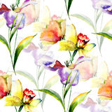 Summer seamless pattern with Tulip and Narcissus flowers Royalty Free Stock Photo