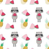 Summer vector seamless pattern with raccoon. Summer seamless pattern. Vector hand drawn raccoons, pineapples and slices of watermelon Stock Image