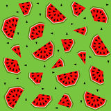 Summer seamless pattern with watermelon, vector background Stock Photography