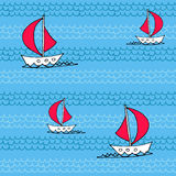 Summer Seamless Pattern. Seamless pattern with waves and sailboats Stock Images