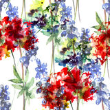 Summer seamless pattern with wild flowers Royalty Free Stock Photo