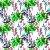 Summer seamless pattern with wild flowers. Watercolor illustration Royalty Free Stock Image