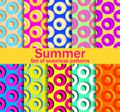 Summer seamless patterns with circles and bright colors. A collection of ten backgrounds. Vector Stock Photography