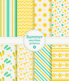 Summer seamless patterns. Vector collection. Stock Photography
