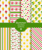 Summer seamless patterns. Vector collection. Stock Image