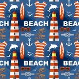 Summer seamless sea patterns. Vector Stock Image