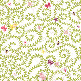 Summer seamless texture, floral pattern with bees ans butterflies Stock Photos