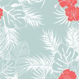 Summer seamless tropical pattern with monstera palm leaves and flowers. On blue background, vector illustration Royalty Free Stock Image