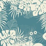 Summer seamless tropical pattern with monstera palm leaves and plants royalty free illustration