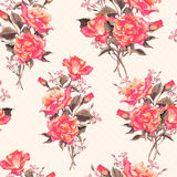 Summer Seamless Watercolor Pattern with Red Roses Royalty Free Stock Images