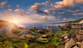 Summer seascape. With stones. Sunrise Stock Image