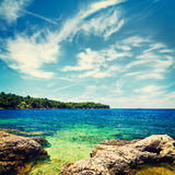 Summer Seascape with Azure Water and Clouds Royalty Free Stock Images