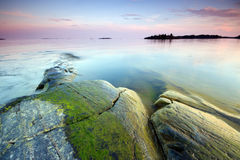 Summer seascape. Late evening seascape in Uutela nature park, Finland Royalty Free Stock Images