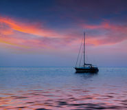 Summer seascape with luxury yacht Stock Images