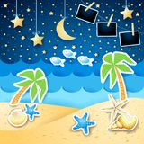 Summer seascape by night with photo frames. Vector illustration eps10 royalty free illustration