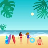 Summer seascape with palm tree and people. Vector illustration stock illustration