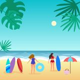 Summer seascape with palm tree and people. Vector illustration royalty free illustration