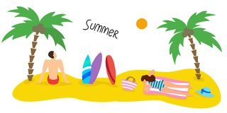 Summer seascape with palm tree and people. Vector illustration vector illustration