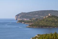 Summer seascape on Sardinia Island. Mediterranean seascape with mountains in the background, Sardegna, Italia stock photography