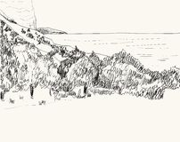 Summer seascape sketch Royalty Free Stock Photography