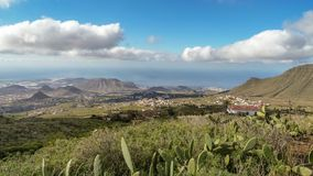 Summer seascape on tropical island Tenerife, Canary in Spain. South coast line, Arona vilage, Los Cristianos, agriculture stock images