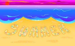 Summer of seashells on seacoast. Illustration summer composed of seashells on seacoast Stock Photo