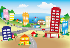Summer seaside. Stylized seaside town with hills, houses, trees and roads Stock Photography