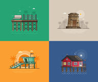 Summer Seaside Backgrounds. Travel seaside landscapes set with different sea coast scenes. Summer beach backgrounds with lighthouse, lifeguard tower, wooden Royalty Free Stock Image